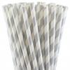 25 pailles rétro à rayures argent