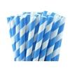 25 pailles papier à rayures bleues