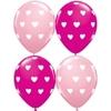 25 ballons de baudruche rose imprimé coeœur