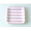 assiette-jetable-carree-a-rayures-rose