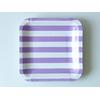 12 assiettes carton carrées à rayures