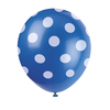 6 ballons bleu à pois blanc latex