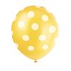 6 ballons jaune à pois blanc latex