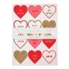 10 Stickers coeur St Valentin