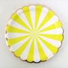 assiettes carton rayures jaune