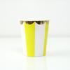 8 gobelets carton rayures jaune