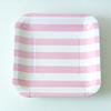 12 assiettes carrées rayures rose clair