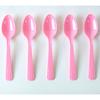 10 petites cuillères en plastique rose clair