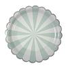 8 assiettes carton rayures vert menthe