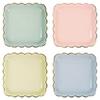 8 assiettes carrées pastel