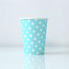 12 gobelets carton bleu clair à pois blancs
