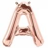 Ballon lettre A à Z en aluminium rose doré - 41 cm