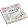 20 serviettes papier anniversaire fleuries