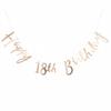 Guirlande anniversaire 18 ans lettres dorées