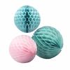 3 boules en papier alvéolé rose pastel et vert menthe
