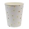 8 gobelets carton blanc étoiles dorées