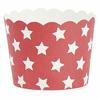 24 caissettes cupcakes papier rigide rouge à étoiles