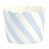 24 moules à cupcakes rigide en papier rayé bleu