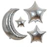 6 ballons mylar holographique lune et étoiles