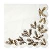 16 serviettes papier aiguilles de pin dorées