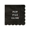 16 serviettes cocktail papier noir holographique