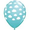 25 ballons de baudruche bleus imprimés nuage