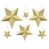 Kit création 6 étoiles 3D en papier doré
