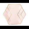 8 assiettes carton rose blush et doré