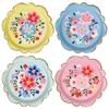 8 assiettes carton fleurs Cachemire