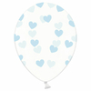 6 ballons transparents coeurs bleu
