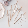 16 pailles Team Bride en papier rose gold
