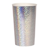 8 grands gobelets en carton holographique argenté