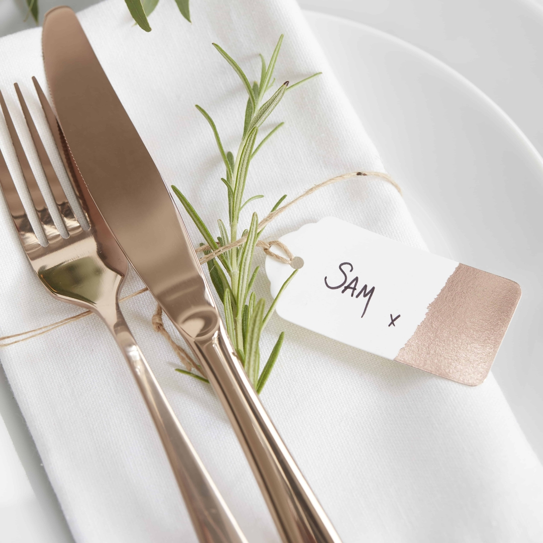 etiquette cadeau am ricaine papier blanc et rose gold. Black Bedroom Furniture Sets. Home Design Ideas