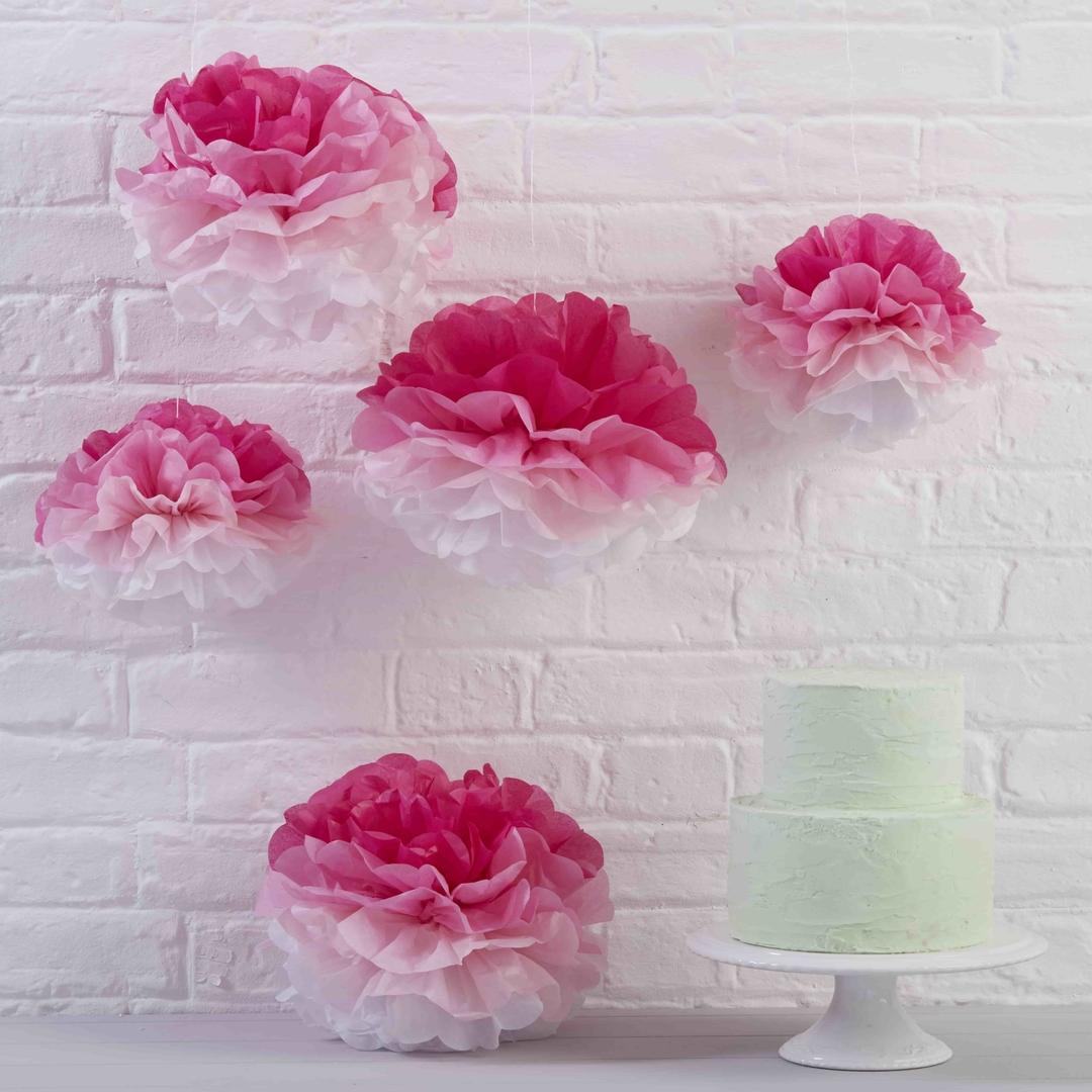 pompon en papier de soie rose effet ombr suspendre achat vente. Black Bedroom Furniture Sets. Home Design Ideas