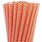 25 pailles en papier chevrons rouge
