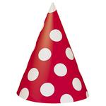 chapeau-pointu-rouge-a-pois