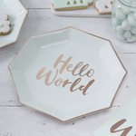 assiette-baby-shower-hello-world-en-carton-vert-menthe-et-rose-dore-ginger-ray