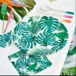 assiette-jetable-feuille-tropicale-table-fete-anniversaire