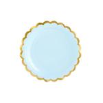 assiette-carton-bleu-clair-or