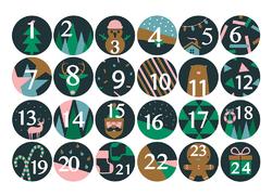 24 chiffres autocollants pour calendrier de l'Avent