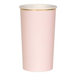 8 grands gobelets en carton rose blush