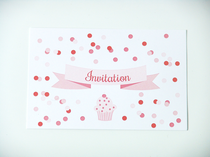cartes d 39 invitation anniversaire cupcake papeterie. Black Bedroom Furniture Sets. Home Design Ideas