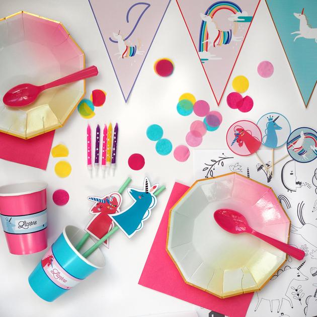 kit anniversaire licorne decoration enfant fille achat. Black Bedroom Furniture Sets. Home Design Ideas