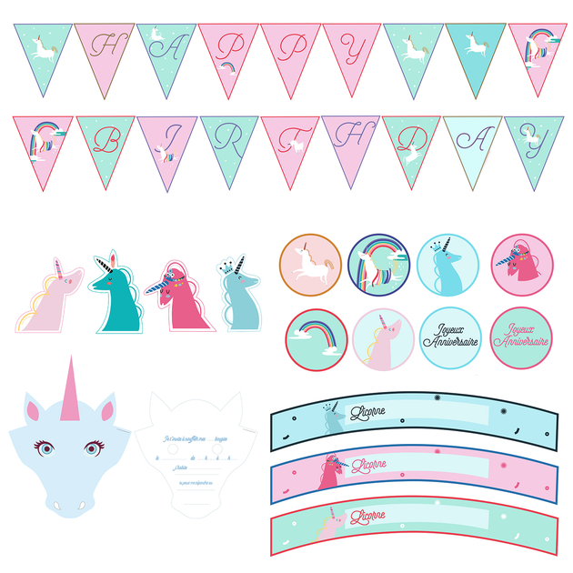 printable anniversaire licorne kit deco imprimer achat. Black Bedroom Furniture Sets. Home Design Ideas