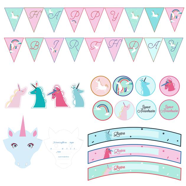 printable anniversaire licorne kit deco 224 imprimer achat vente