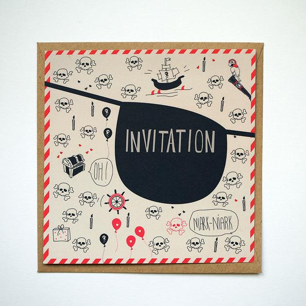 carte invitation anniversaire pirate papier recycl achat vente. Black Bedroom Furniture Sets. Home Design Ideas