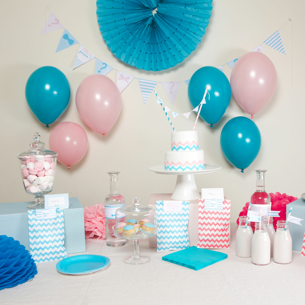 kit deco baby shower r v lation pour gender reveal achat vente. Black Bedroom Furniture Sets. Home Design Ideas