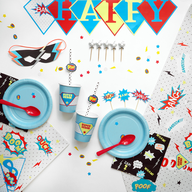 kit anniversaire super h ros comics enfant garcon sweet party day. Black Bedroom Furniture Sets. Home Design Ideas