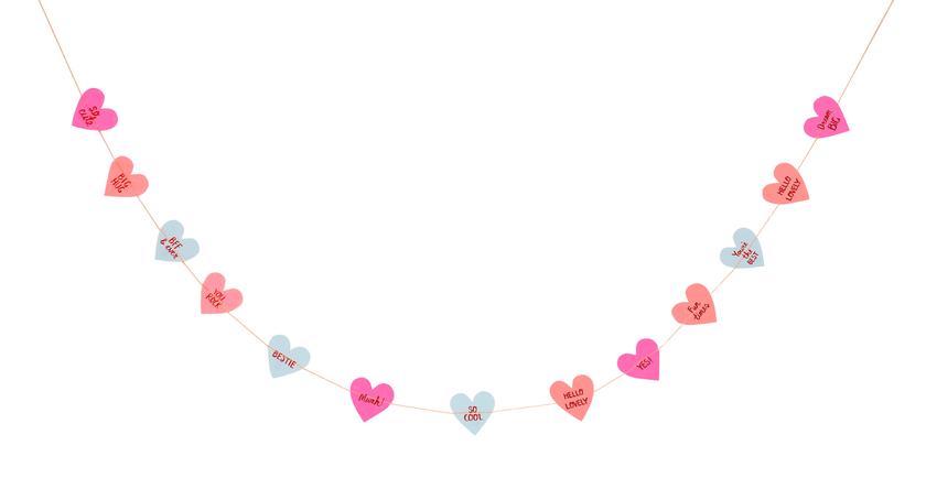 guirlande papier coeur messages st valentin mariage. Black Bedroom Furniture Sets. Home Design Ideas