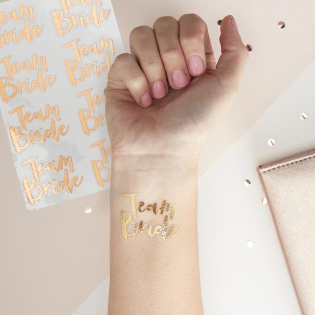 Tatouage Temporaire Team Bride Rose Gold Animation Evjf Achat